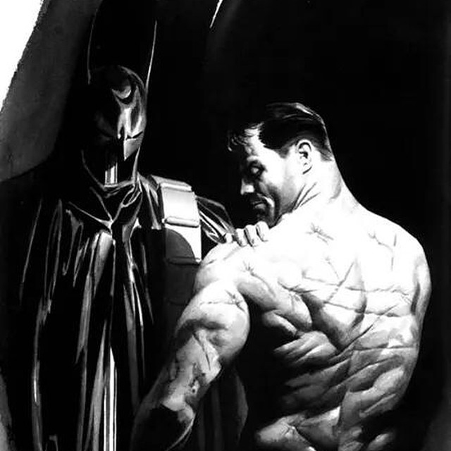 "The painting is by Alex Ross from the book Mythologies, and the art's detail, says this:  This rendering of a battle-scarred Bruce Wayne in the off hours was features as a pin-up page in the Batman: Black & White anthology of 1996. ""I was inspired by a Joe Staton drawing, from a story about a future version of Batman marrying Catwoman. At one point there was a scene when he was out of costume and she saw his back and gasped at all his scars. Until this piece, they remained unseen."" This was Ross's first image of Batman published by DC that wasn't related to Kingdom Come or any other ""alternate"" version.#batman #batman75 #batmanart #comics"