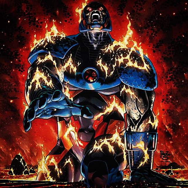 "#Darkseid (pronounced ""Darkside"") is a fictional character, #supervillain who appears in comic books published by #DC Comics. He first appeared in Superman's Pal Jimmy Olsen #134 (November 1970) and was created by writer-artist Jack Kirby. Darkseid is one of the most powerful and evil characters in the DC Universe. Debuting in the Silver Age of Comic Books, he has appeared in four decades of DC Comics publications, featuring prominently in the New Gods titles and limited series as the nemesis of the New Gods and Superman (and by extension the Justice League). He has also been associated with DC Comics merchandise including animated television series, toys, trading cards and video games."