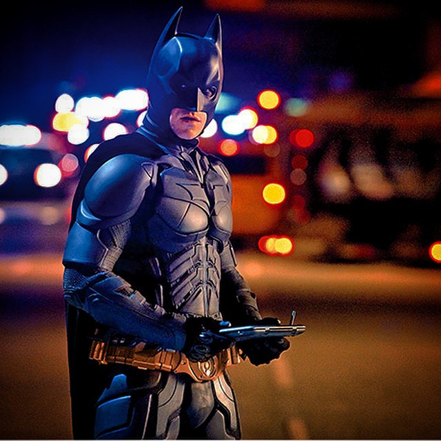 Is that the #darkknight with an #iPhone6plus ??? It looks big enough! #waynetech #apple
