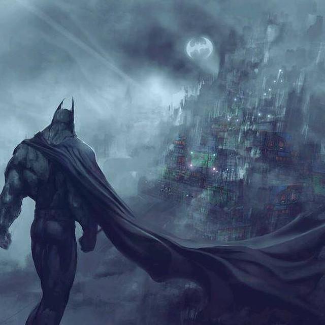 Brilliant artwork of the #darkknight overlooking #gotham