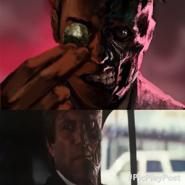 Harvey Dent #twoface is a #supervillain in the #dcuniverse that's fundamentally both mentally and physically scared. Having his coin with a scratch on one side that determines his decision making. #dc #batman #darkknight #dcart #dccomics #warnerbrothers #evil #film